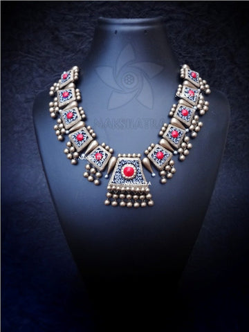 Nakshatra Terracotta Antique Gold Silver and Red Necklace Set