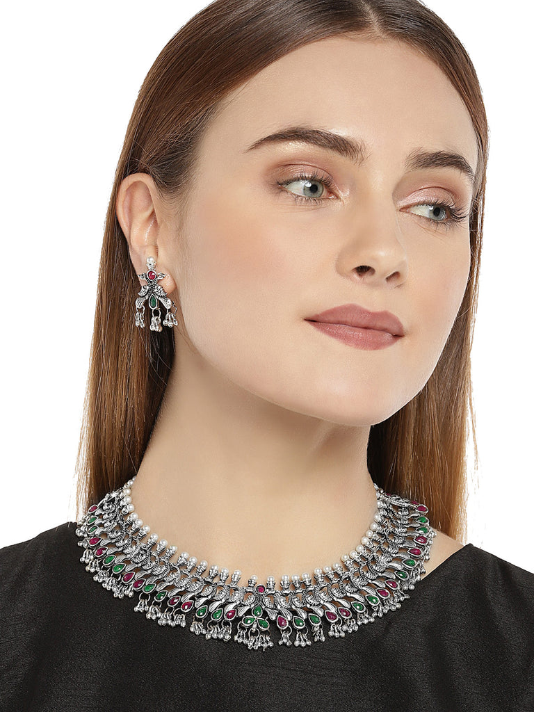 Zaveri Pearls Antique Silver Peacock Inspired  Necklace Set-ZAVERI PEARLS1-Necklace Set