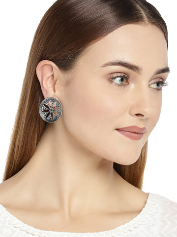 Combo Of 3 Zaveri Pearls Antique Silver Tone Stud Earrings