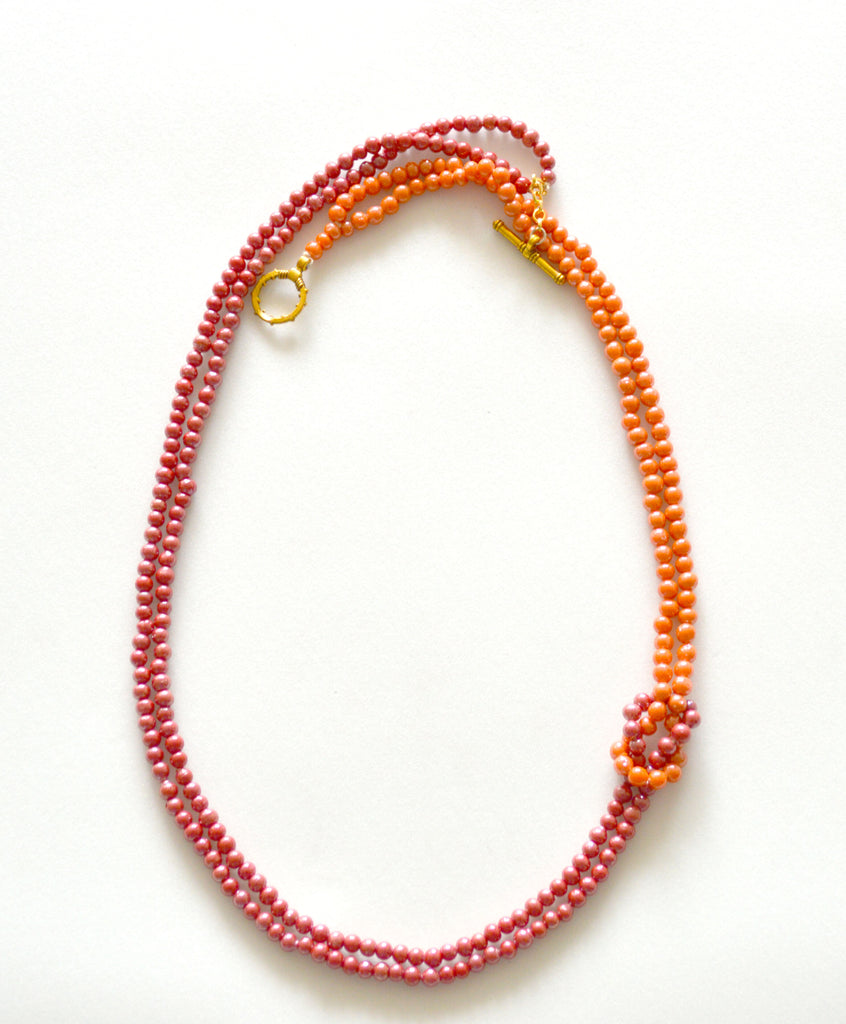 Orange Color Glass Beads 2 Layered Necklace