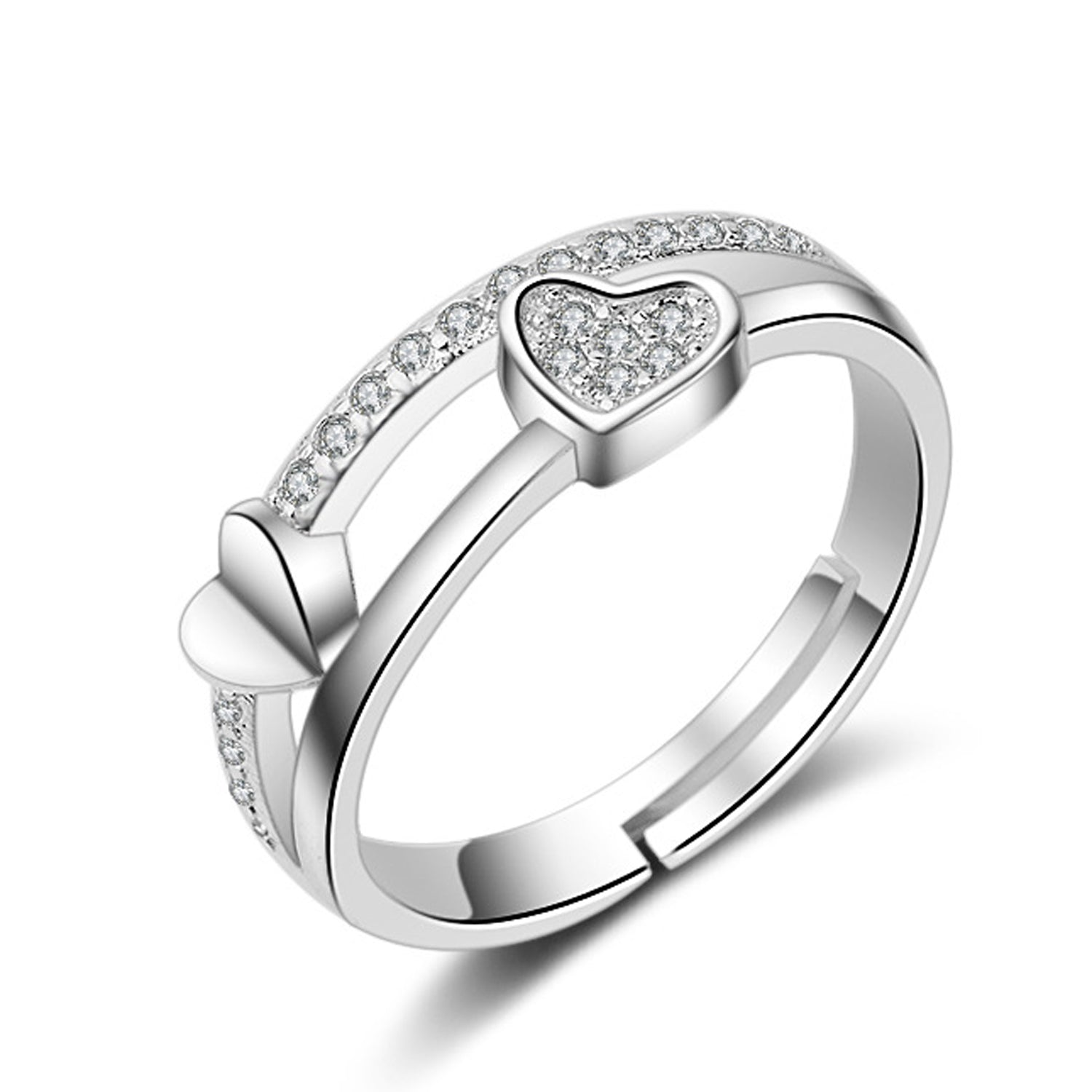 Sukkhi Graceful Valentine Heart Australian Diamond Rhodium Plated Finger Ring for Women-SUKKHI-Finger Ring