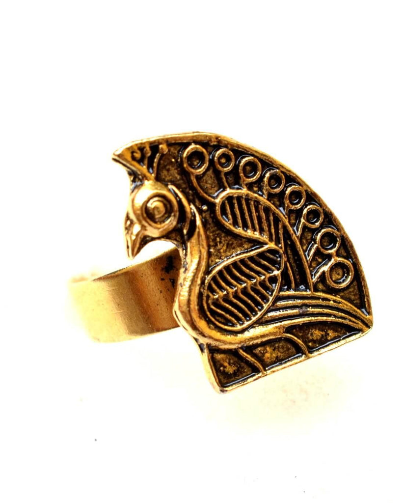 Adjustable Finger Ring In Gold Oxidized Metal Peacock Motif 3