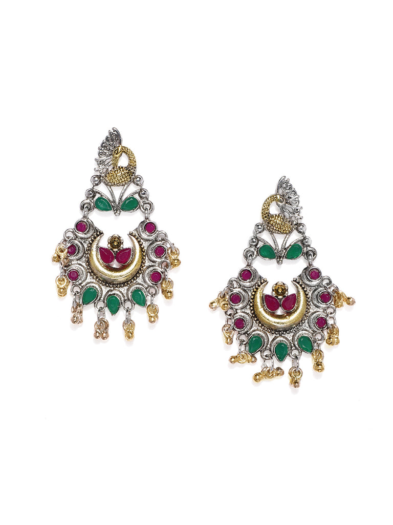 Zaveri Pearls Antique Silver Tone Peacock Inspired Dangle Earring