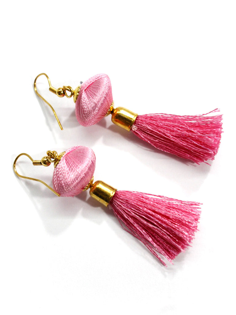 Aana Pink Color Fabric Drop Earring-AANA1-Earring