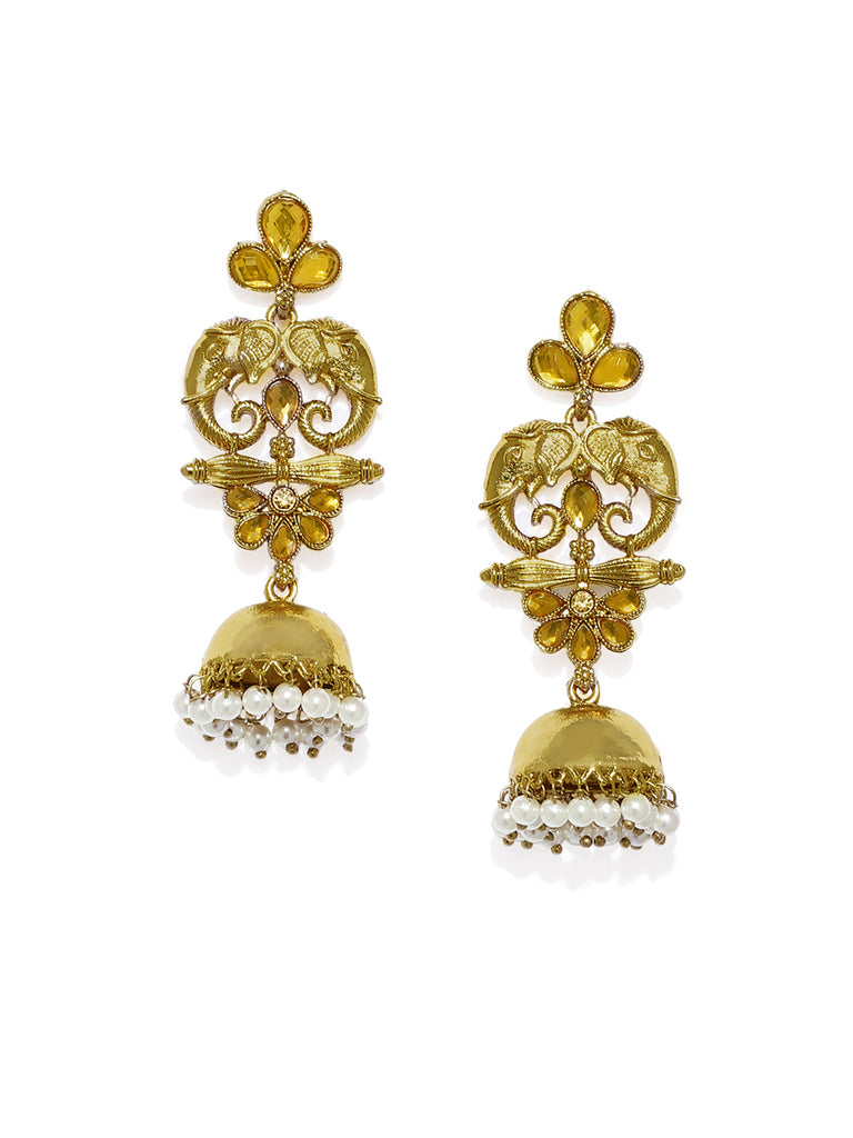 Zaveri Pearls Gold Tone Elephant Design Traditional Jhumki Earring