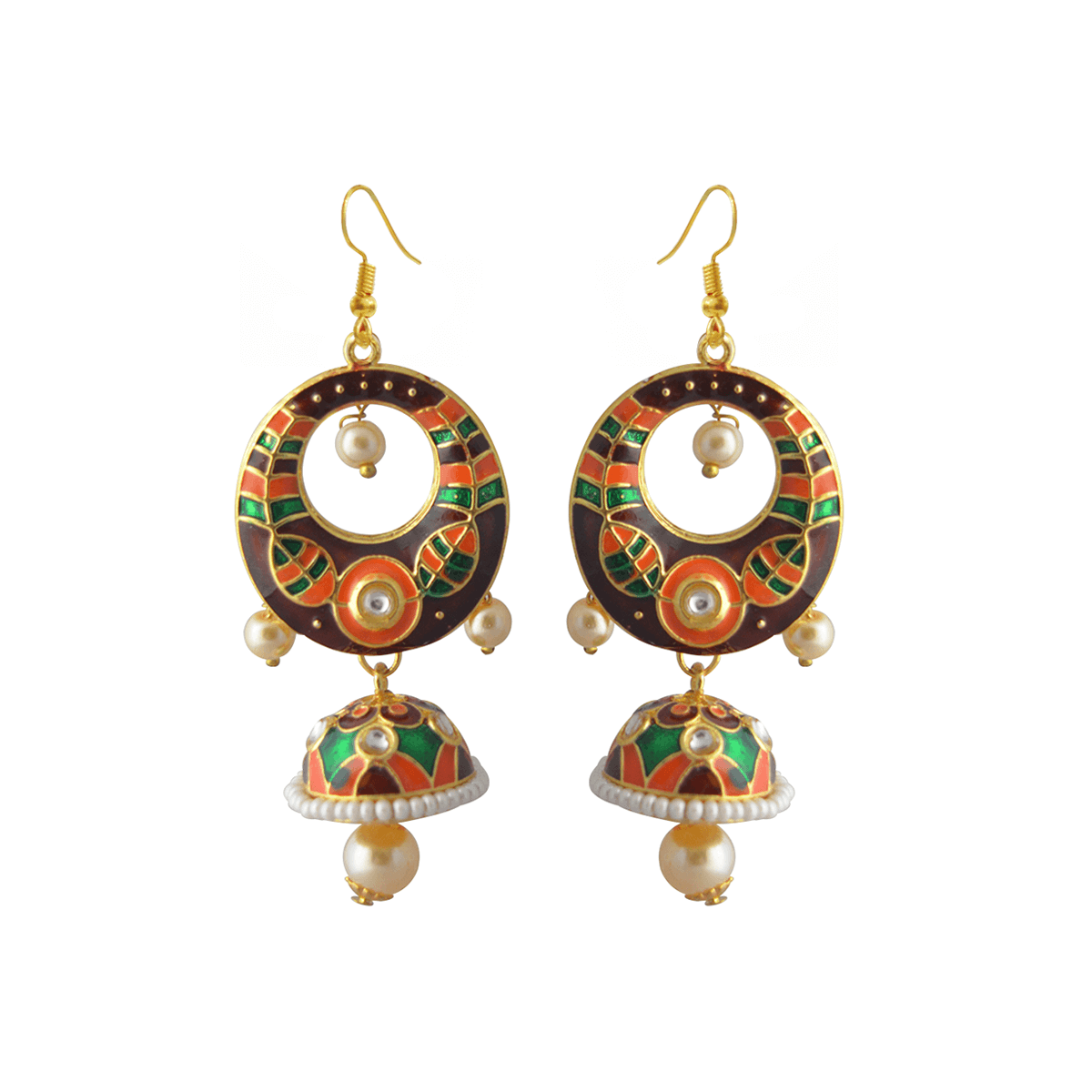 MK Jewellers Brown And Orange Color Dome Design Dangler Earring-MK JEWELLERS1-Earring