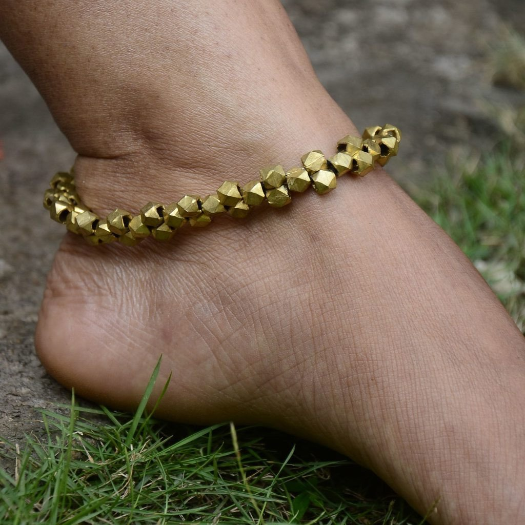 Dhokra Tribal Anklet Majestic Blue