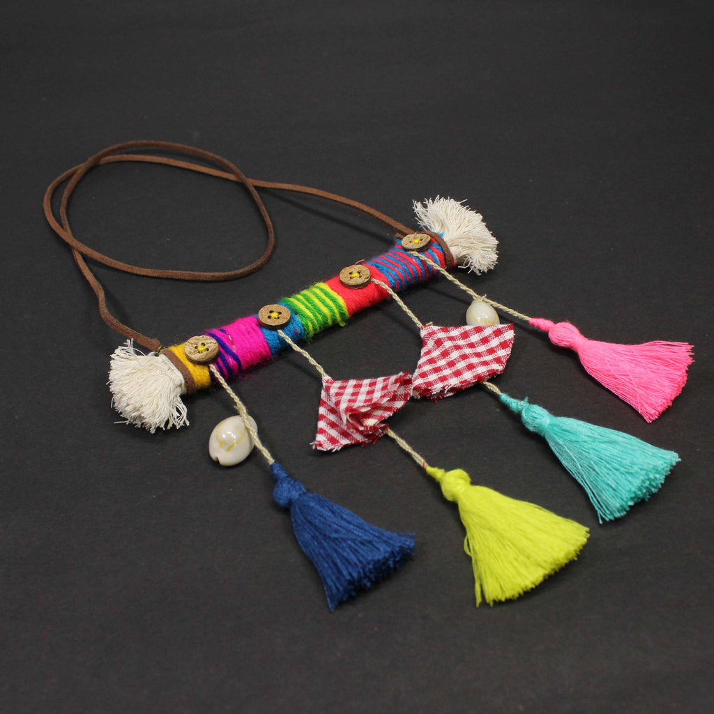 Hand Crafted Multicolour Wool And tassel neckpiece