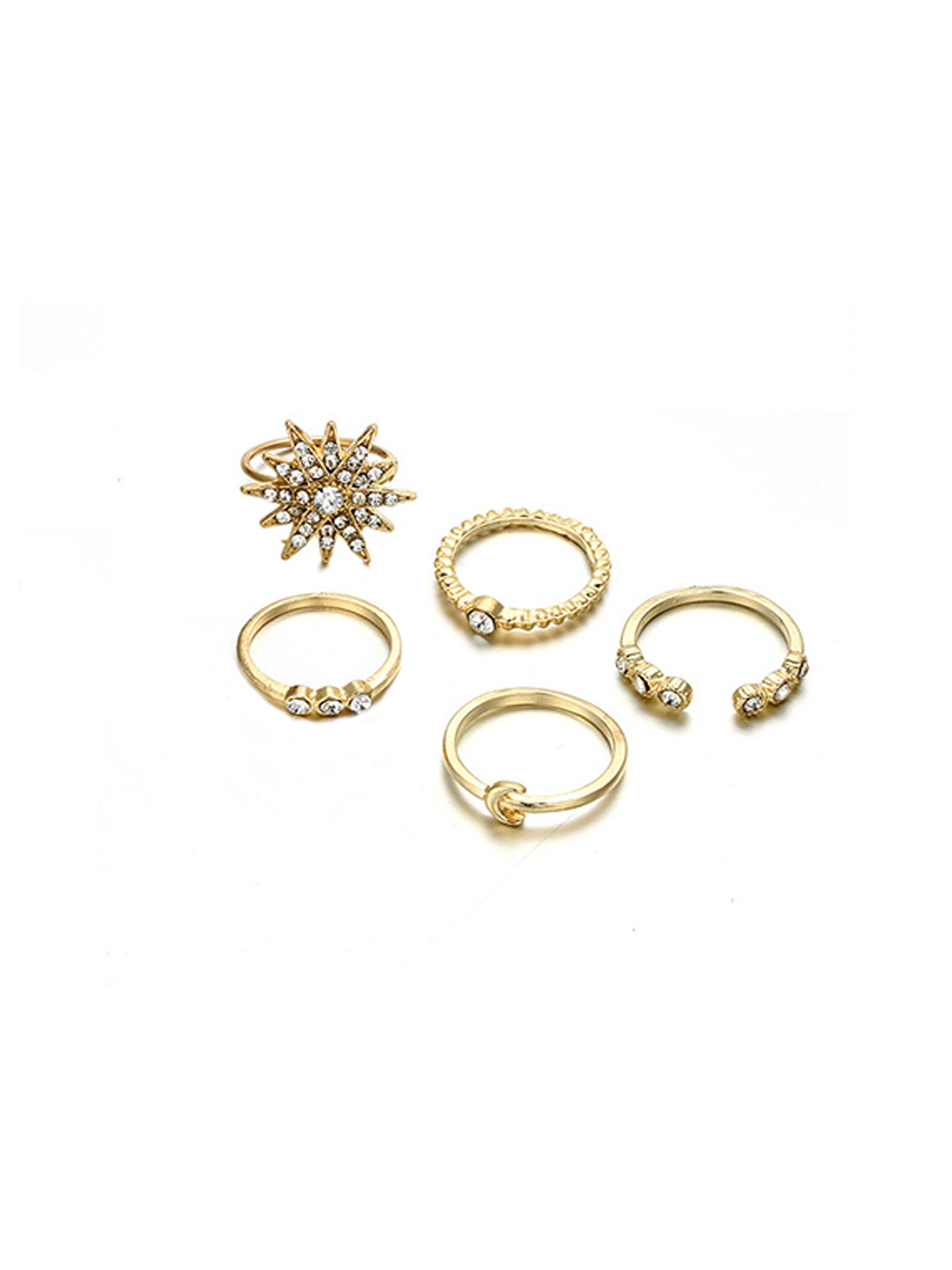 Glam Stack Combo of 5 Finger Rings-STYLE FIESTA-Combo