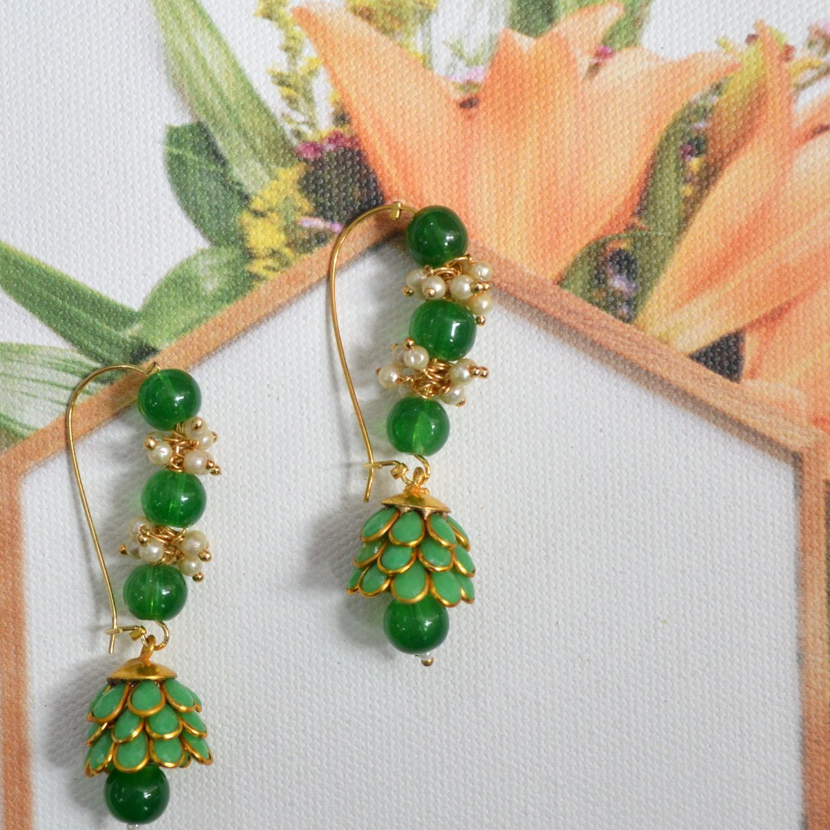 Green Colour Ethnic Loop with Pacchi Dome Earring