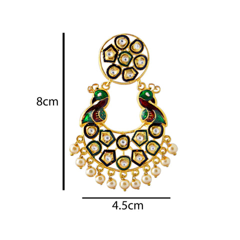 Mk Jewellers  Maroon And Green Meenakari Circle Dual Peacock Kundan Dangler Earring