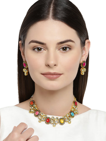 Zaveri Pearls Antique Gold Tone Multicolor Stones And Kundan Necklace Set