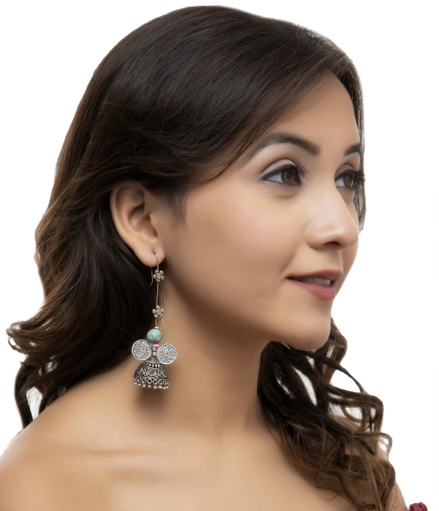 Ethnic Turquoise Color Jhumka Earring-ANETRA1-Earring