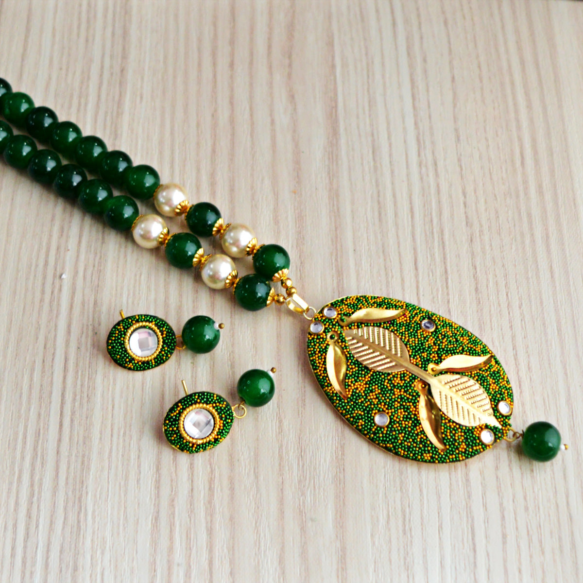 Dark Green Colour Beads Floral Design With Kundan Meenakari Necklace Set