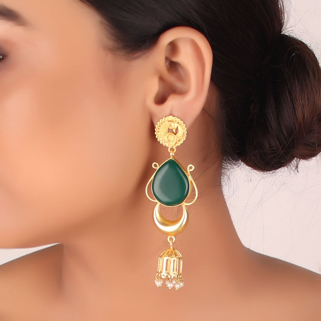Gold Plated Green Color Stone Peacock Design Delightful Glitter Jhumka Earring By Cippele-Cippele-Earring
