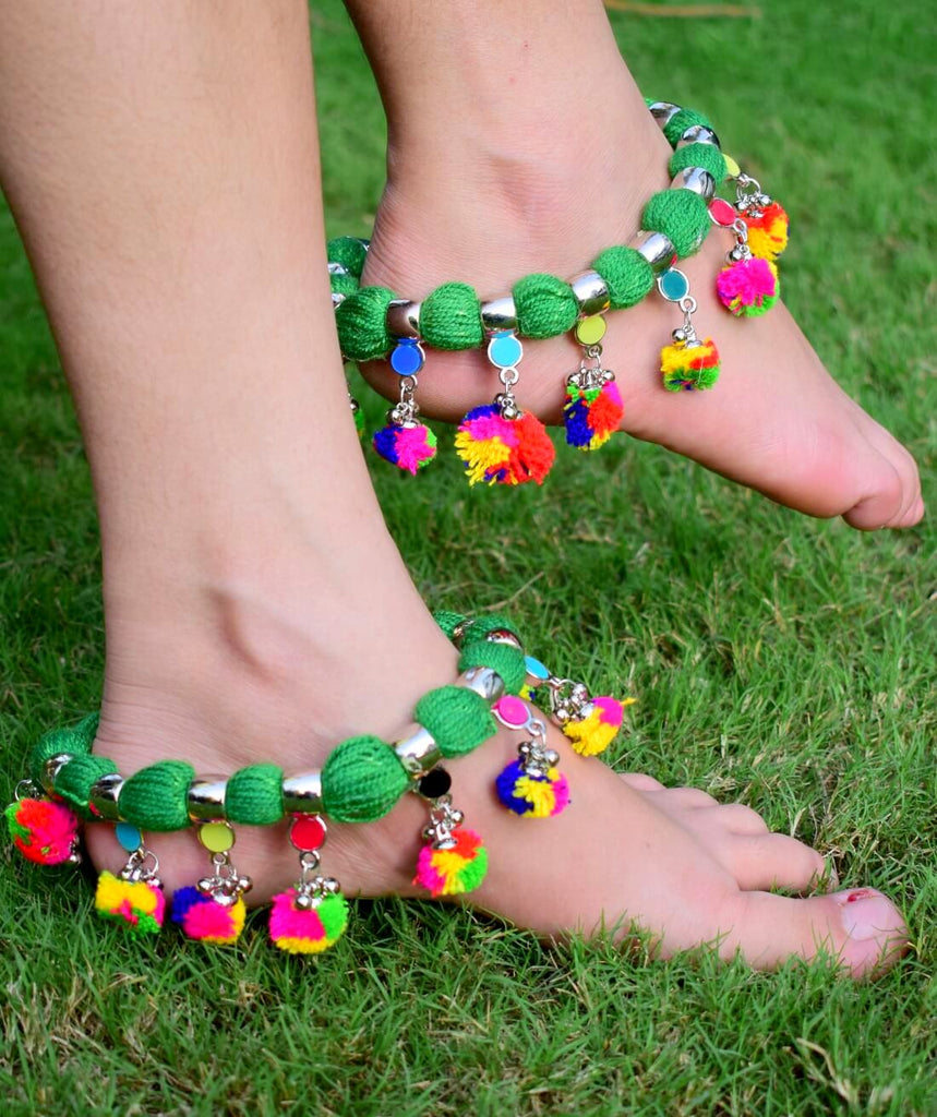 GiftPiper Green Threaded Anklet with Pom Pom Tassels
