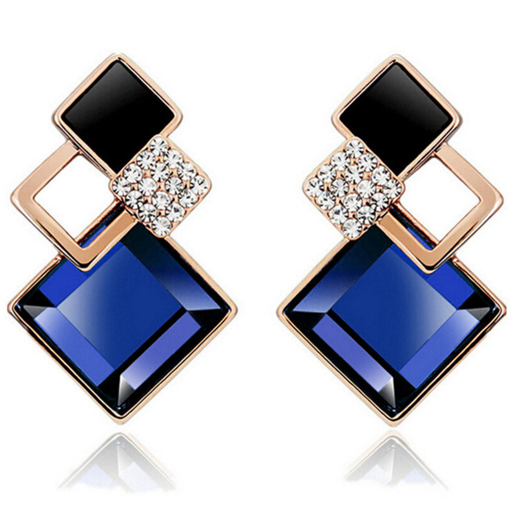 Sukkhi Crystal Gold Plated Black And Blue Color Geometric Design Stud Earring-SUKKHI-Earring
