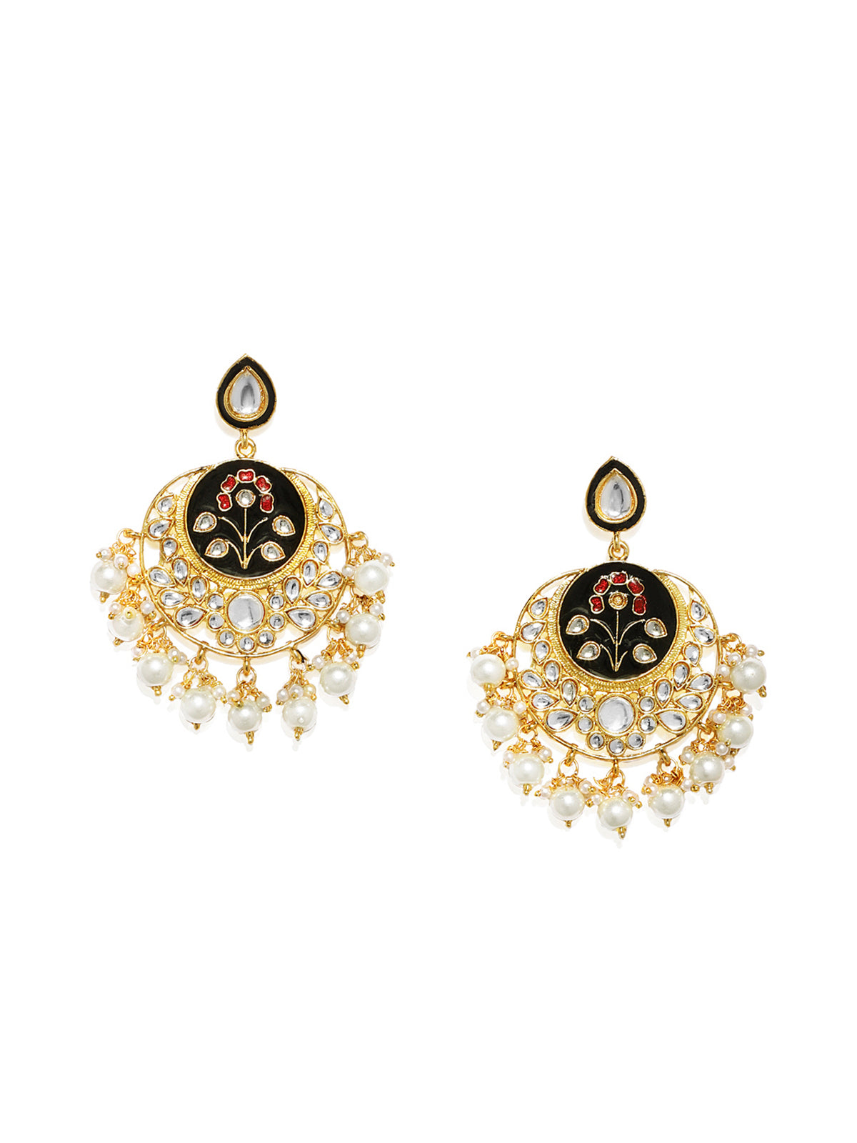 Zaveri Pearls Embellished With Meenakari And Kundan  Dangle Earring