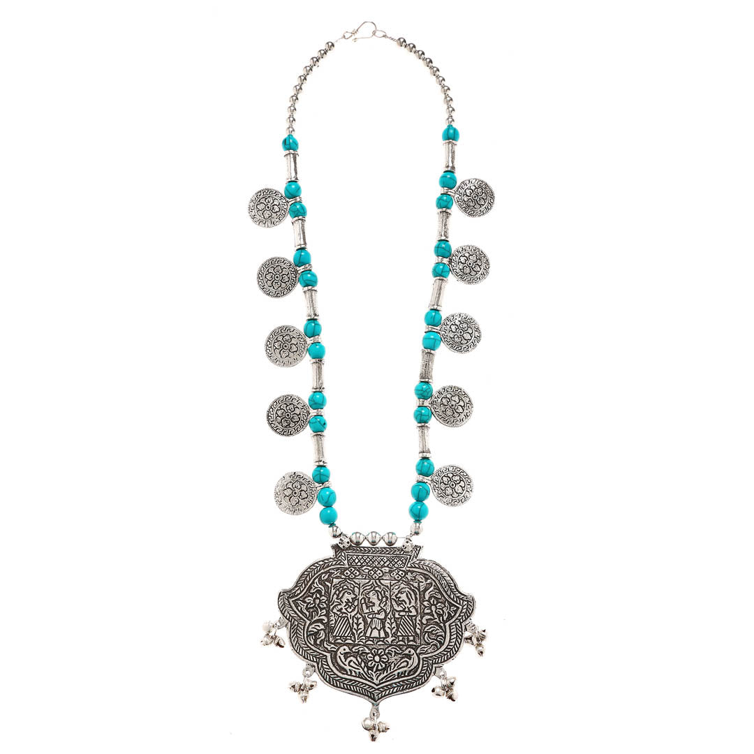 Oxidised Silver Plated Statement Pendant Floral Design With Turquoise Blue Color Beads Long Coin Necklace By Imli Street-IMLI STREET-Necklace