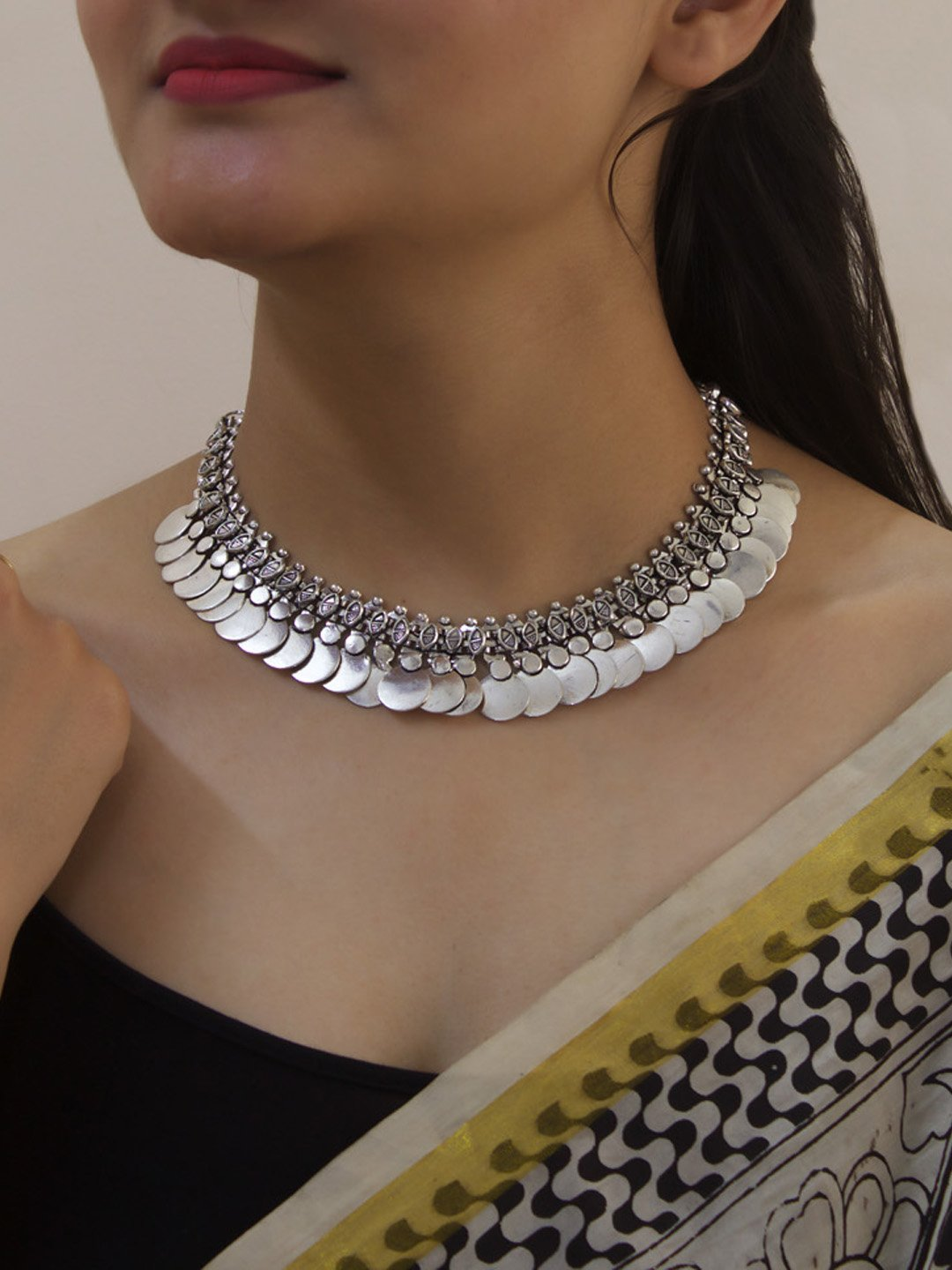 Oxidized Silver Plated Coin Design Choker Necklace