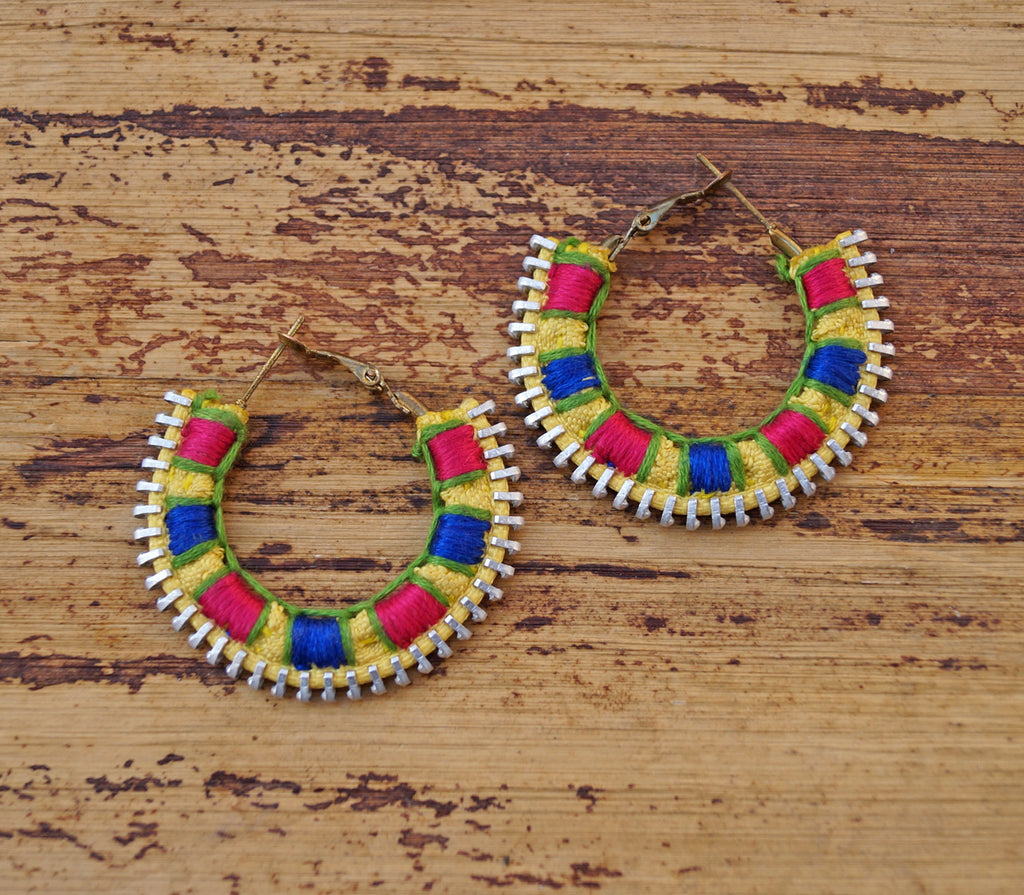 Colorful Embroidered Latch Hoop Earring