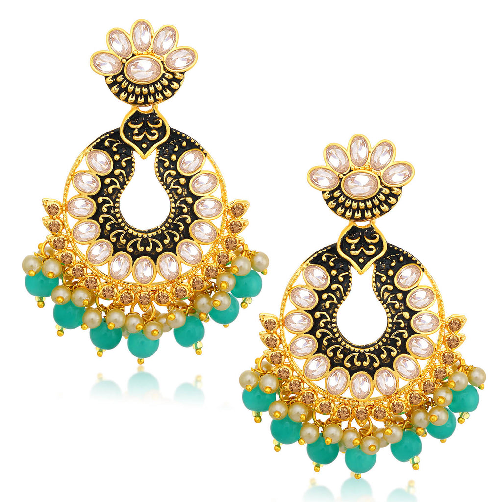 Sukkhi Sparkly LCT Stone Gold Plated Chandelier Earring For Women-SUKKHI1-Earring
