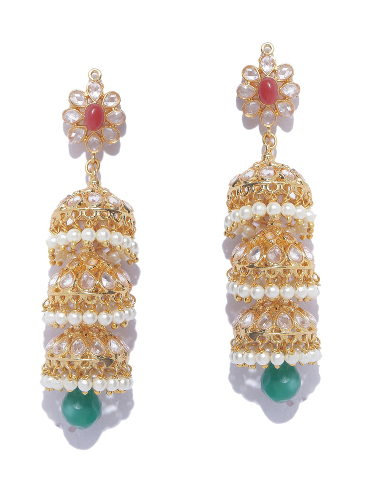 3 Layered Jhumka High quality Contemporary Guttapusalu Pearls Dangler Earring-ARADHYAA JEWEL ARTS1-Earring