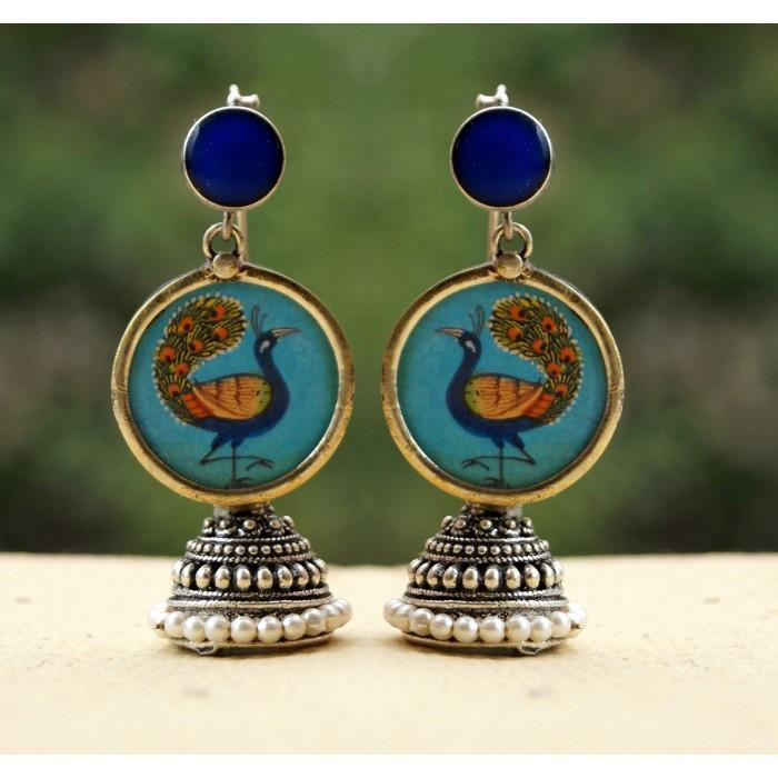 Peacock Handpainted Jhumka Blue