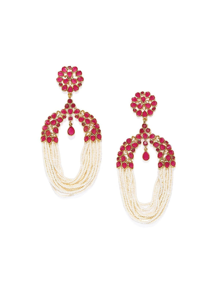 Gold Tone Ethnic Pearls Dangler Earring
