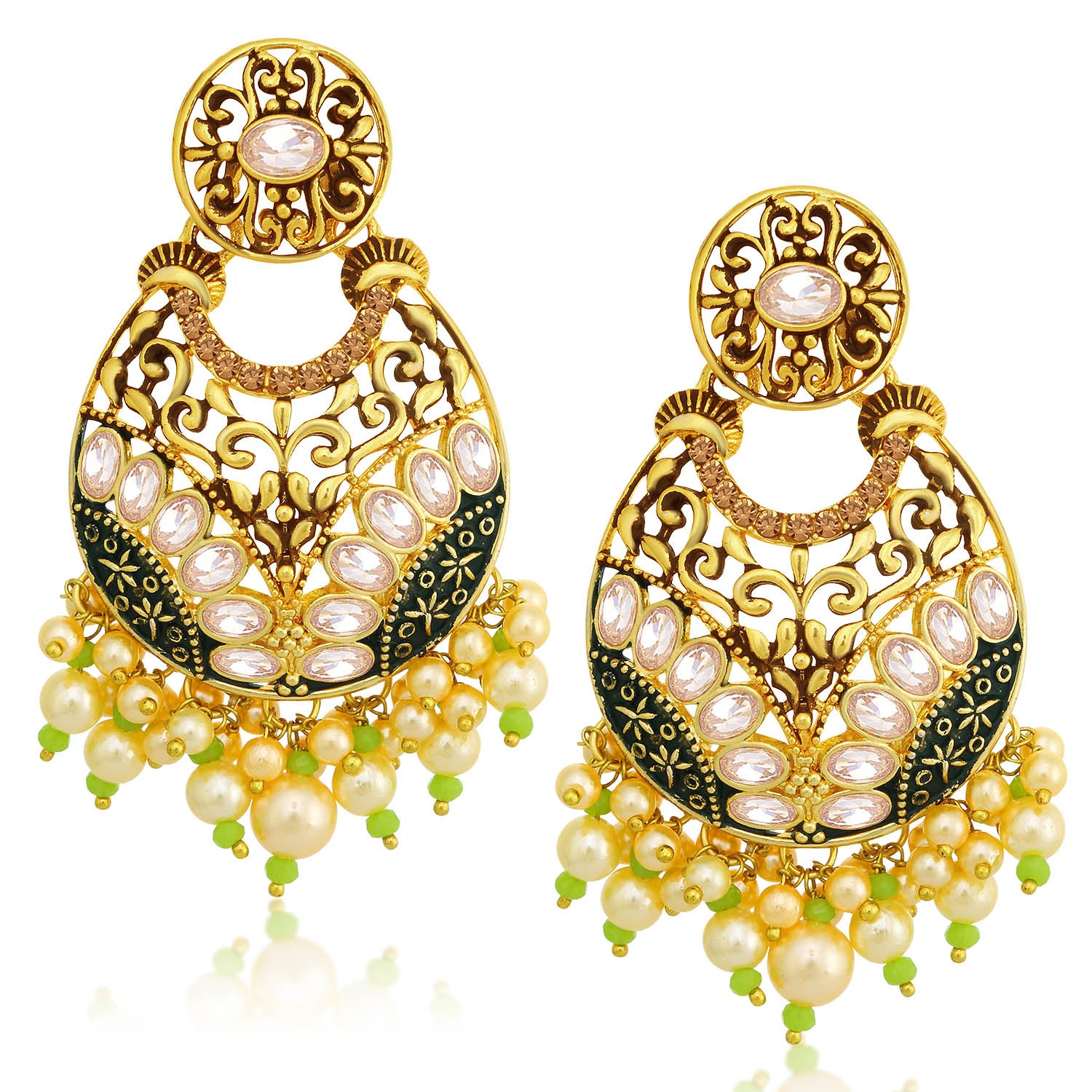 Sukkhi Splendid LCT Stone Gold Plated Pearl Chandelier Earring For Women-SUKKHI1-Earring