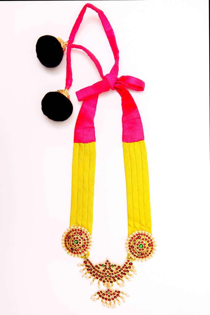 Lime Yellow Color Half Shobha Contemporary Temple Necklace