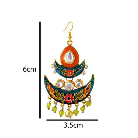 Orange And Blue Meenakari Tribal Dual Half Moon Design With Kundan Earring