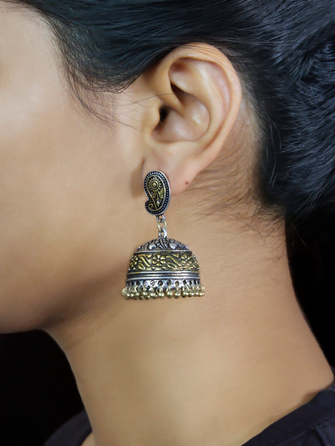 Oxidised German Silver Dual Plated Floral Design Jhumka Earring-OXIDIZED-Earring