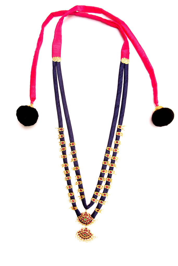 644d2f40b0 Navy Blue Color Double Layered Contemporary Temple Necklace – Jumkey  Fashion Jewellery