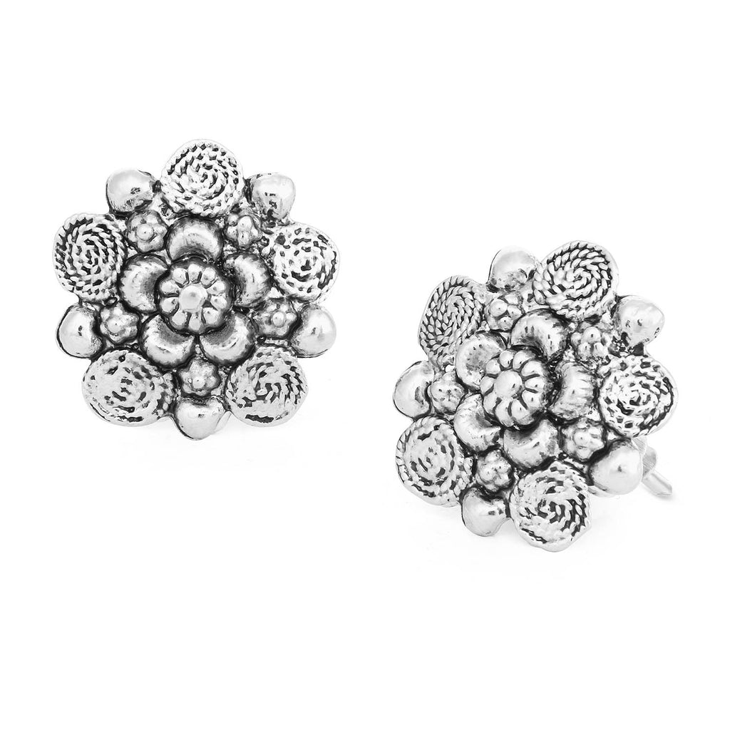 Sukkhi Glittery Oxidised Floral Stud Earring For Women-SUKKHI1-Earring