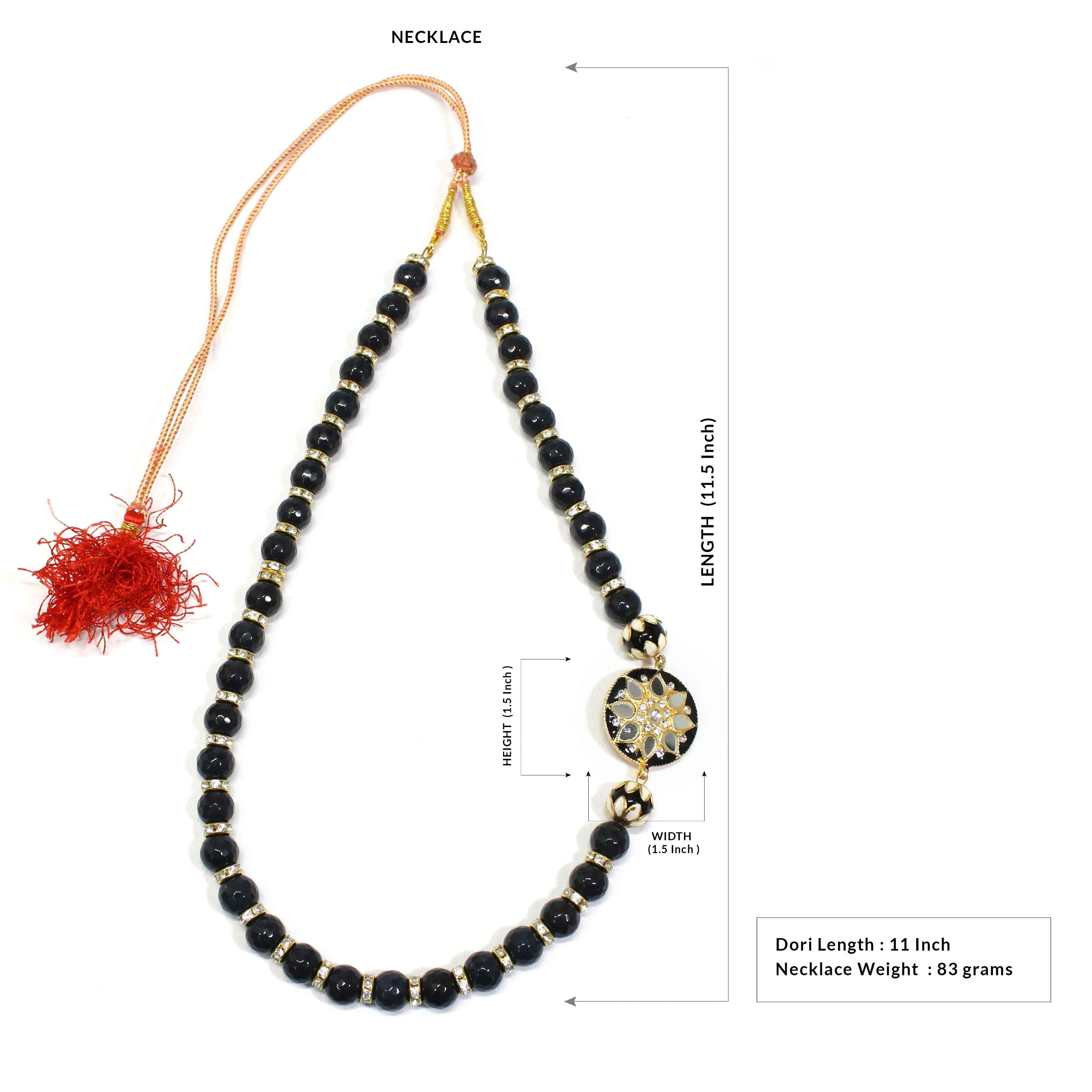 Semi Precious Smokey Black Topaz Beads Necklace with Meenakari Side Pendant