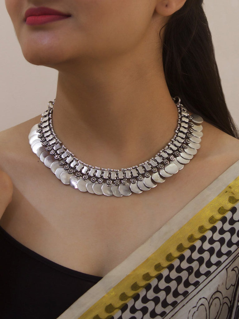 Oxidised Silver plated Coin Design Choker Necklace