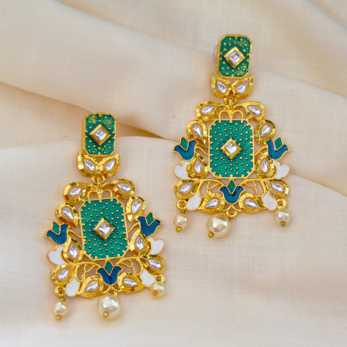 Mk Jewellers Green Color Meenakari Kundan Dangler Earring-MK JEWELLERS1-Earring