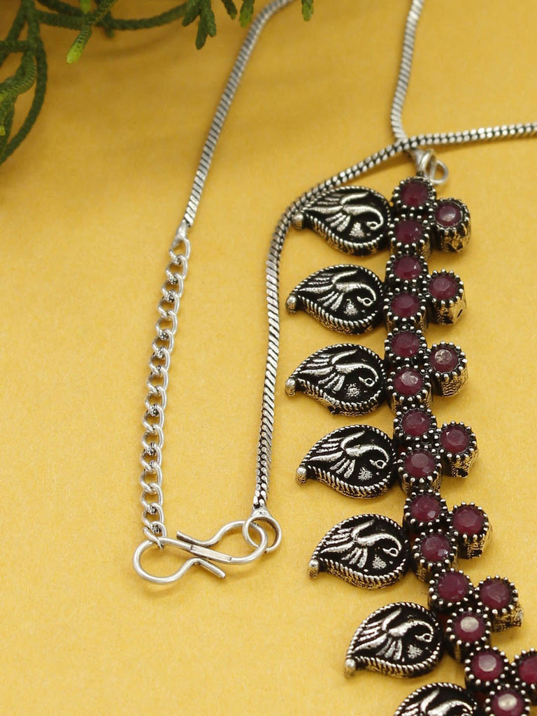 Oxidised Silver Plated Peacock Design With Red Color Stones Choker Necklace Set-OXIDIZED-Necklace Set