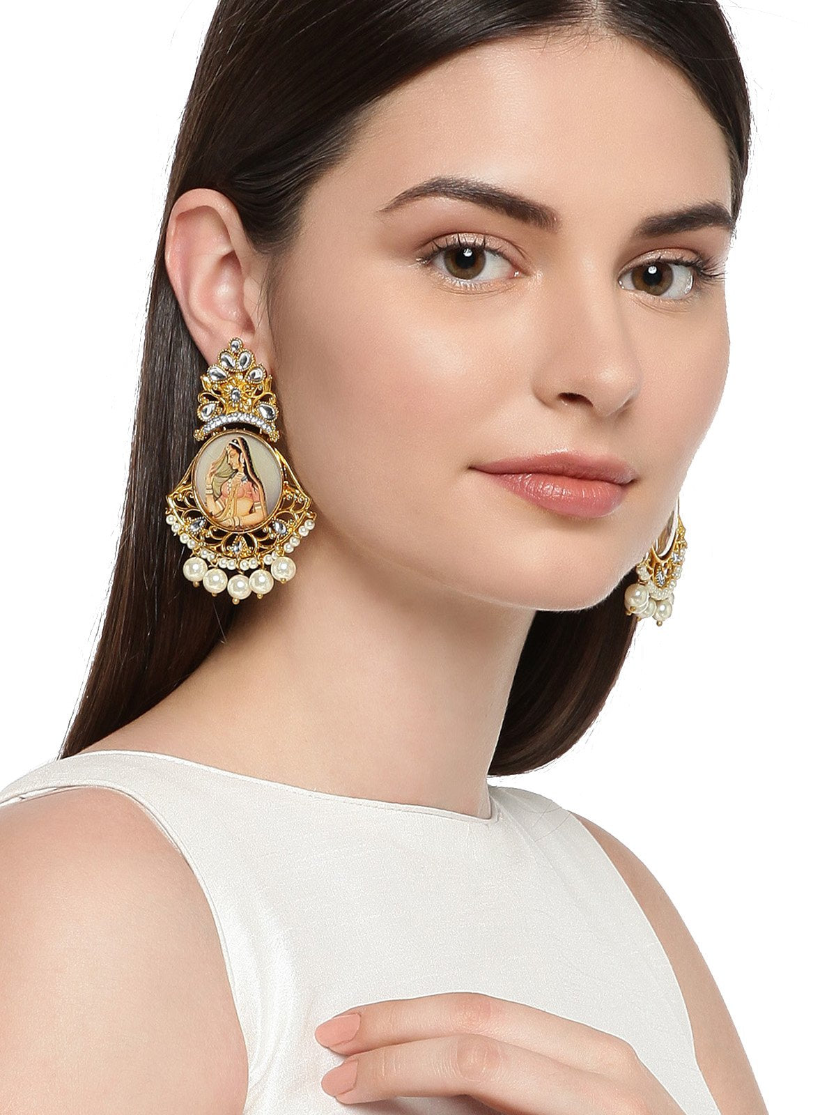 Gold Tone Padmavati Inspired Classic Dangler And Pearl Drops Earring