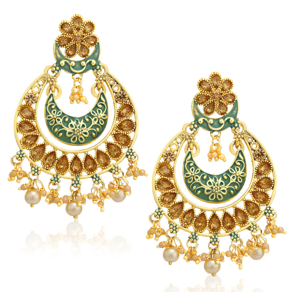 Sukkhi Amazing LCT Stone Gold Plated Green Mint Meena Collection Chandbali Earring For Women-SUKKHI1-Earring
