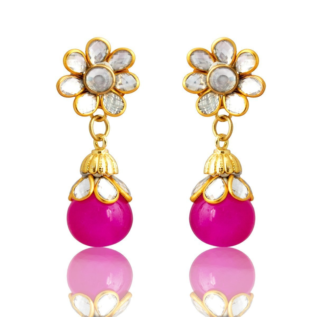 Latest Eid Ramadan Special Kundan Gold Plated Floral Shape Pink Drop Earring