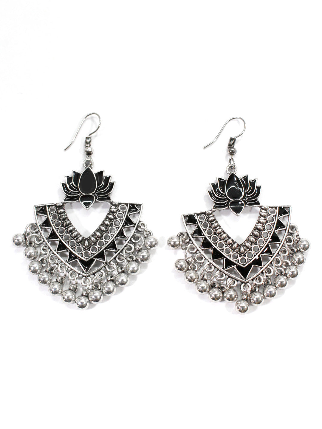 Aana Silver Plated Black Color Lotus Design Afghani Earring-AANA1-Earring