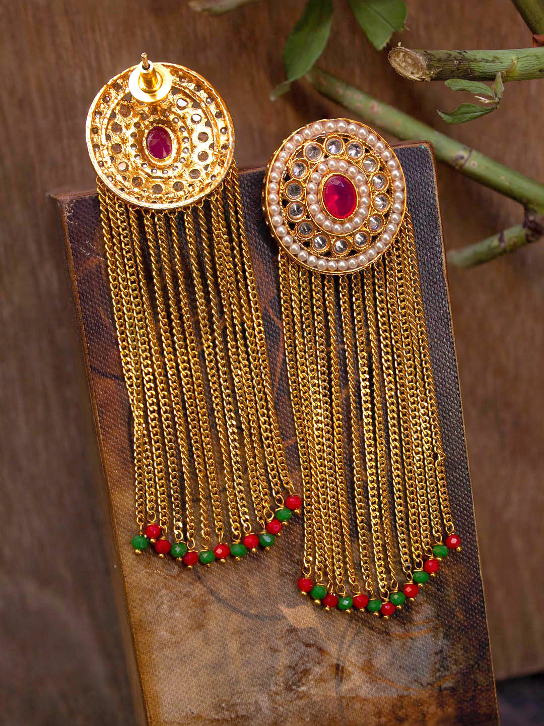 Avismaya Gold Plated Floral Design Red And Green Color Beads With Hanging Chains Dangler Earring-AVISMAYA-Earring