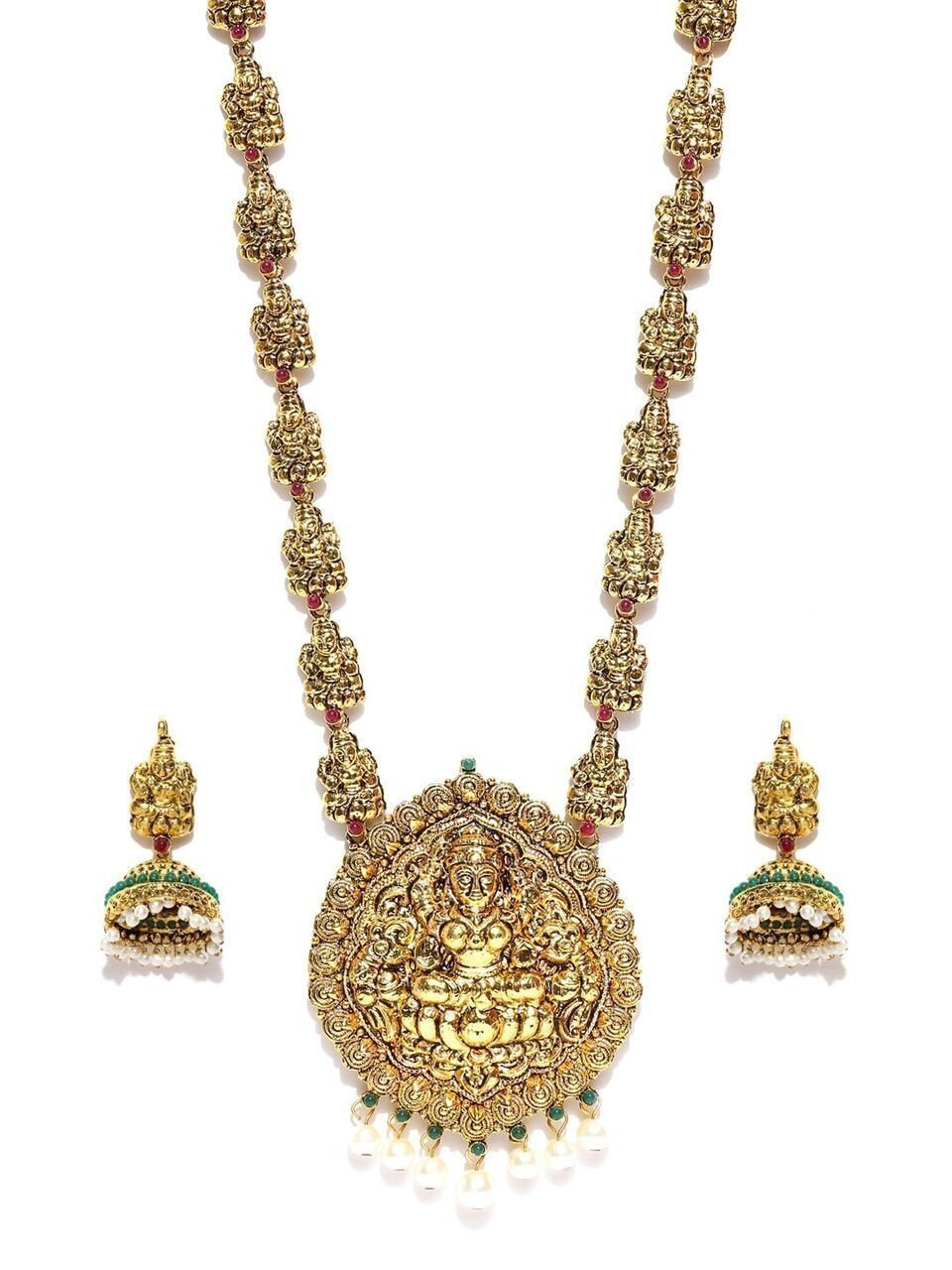 Zaveri Pearls Antique Look Traditional Lakshmi Temple Necklace Set