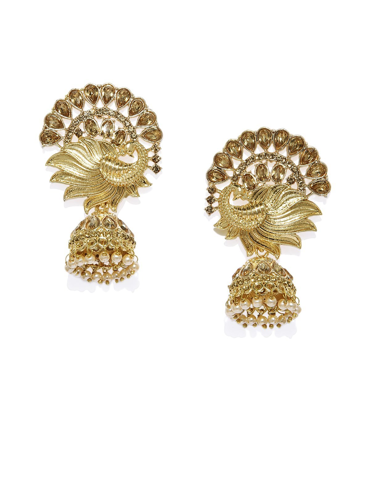 Peacock Inspired Gold Tone Jhumka Earring