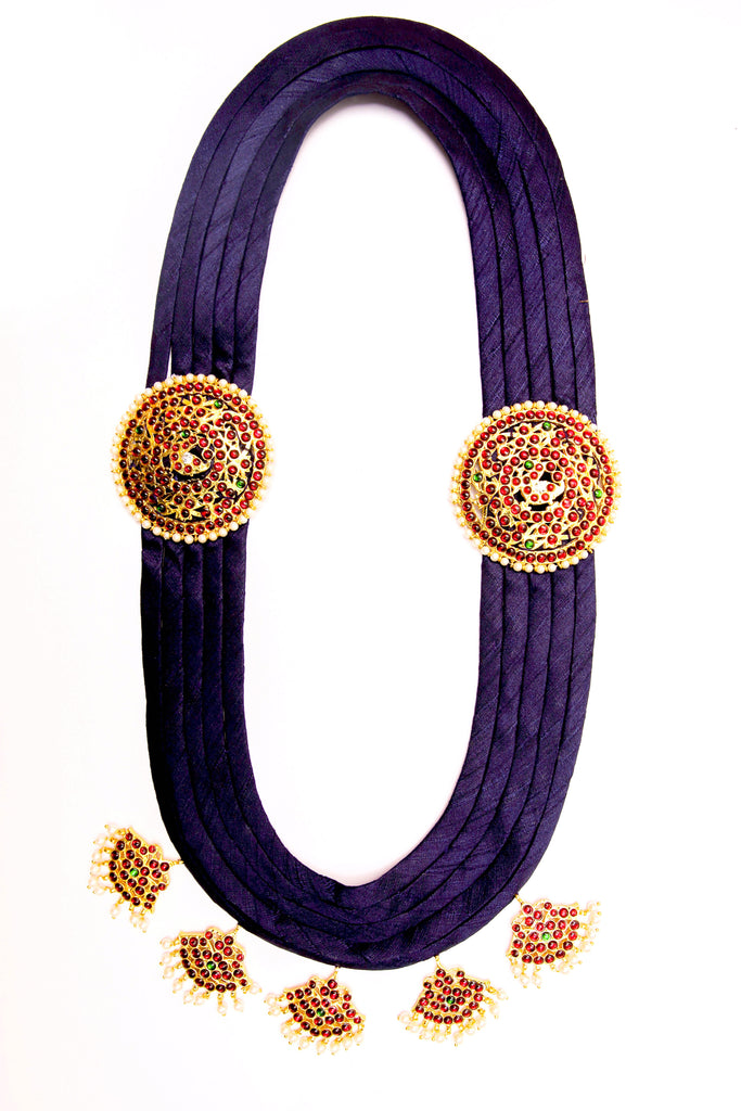 Navy Blue Color Pooja Contemporary Temple Necklace