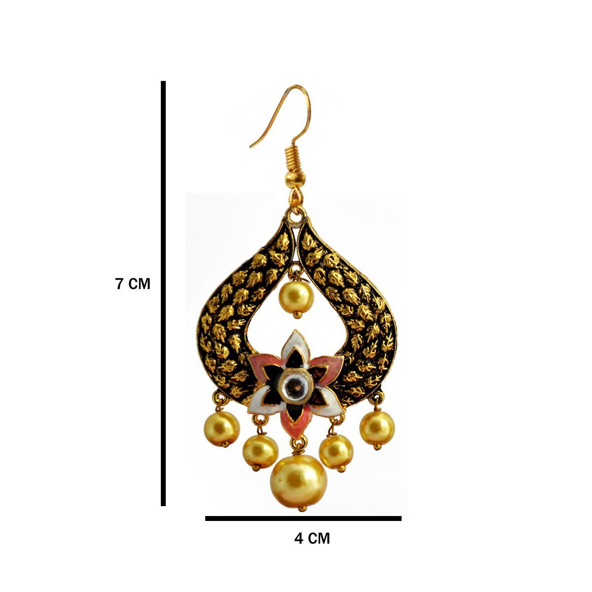 Pink Colour Pearl Meenakari Lotus Floral Dangler Earring