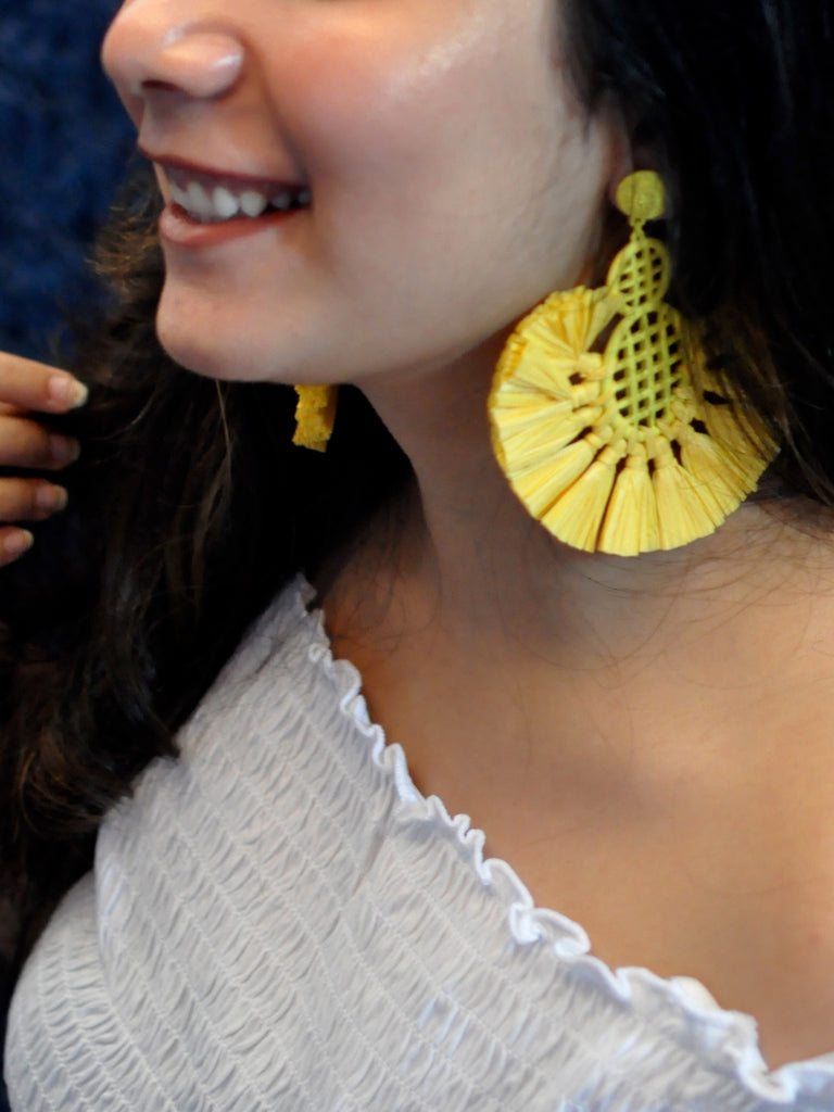 Brighten Up Yellow Feather Earrings-STYLE FIESTA-Earring