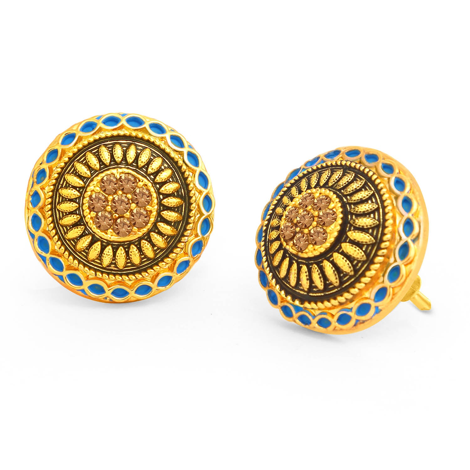 Sukkhi Fancy LCT Stone Gold Plated Blue Mint Meena Collection Stud Earring For Women-SUKKHI1-Earring